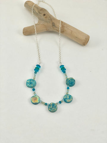 Teal Druzy and Sterling Silver Necklace