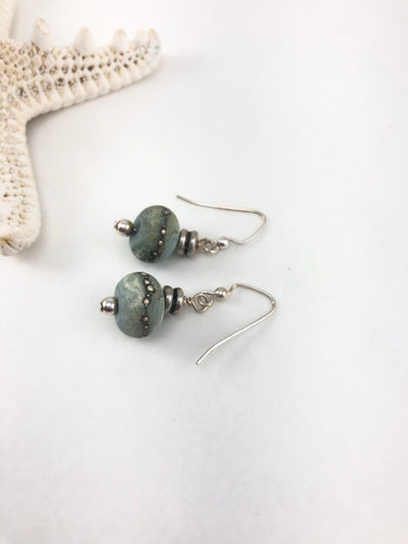 Sea Green Lampwork Bead Earrings