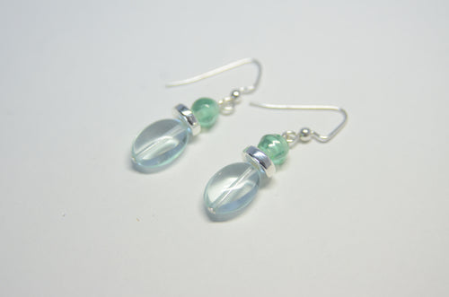 Sea Foam Green Dangle Silver Earrings