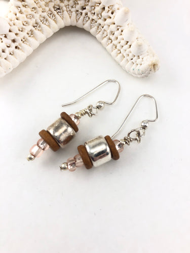 Silver Heishi and Brown Mykonos Earrings