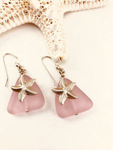 Pink Seaglass and Starfish Dangle Earrings