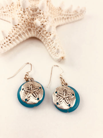 Sea Glass & Sand Dollar Earrings