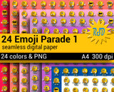 24 Emoji Parade Vol 1 thru 3, Emoji Digital Paper, 4 Sizes
