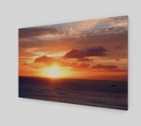 Hazy Ocean Sunset Wood Print