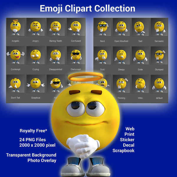 Emoji Emoticon Clipart Collection Royalty Free PNG for Web, Print, Sticker, Decal, Scrapbook, School