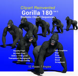 Gorilla 180 Realistic Clipart Vol 2 of 2, Royality Free Infographic Clipart, Decal, Sticker, Web, Gorilla Advertising, Gorilla Print, School