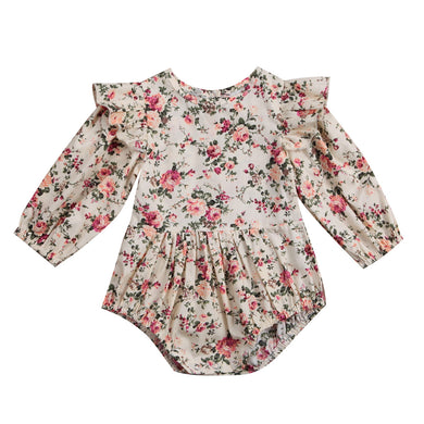 8947f7dcb23ebd Flower Infant Toddler Baby Girl Romper Vintage Long Sleeve Neborn Girl  Romper Jumpsuit Spring Autumn Baby