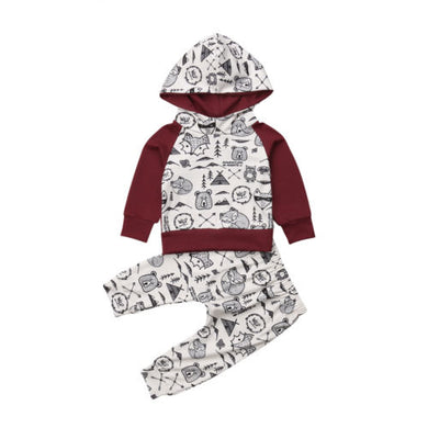 9c94f800c Newborn Baby Boy Girl Clothing Cute Animal Print Hooded Tops Pants Warm  Long Sleeve Outfit Clothes