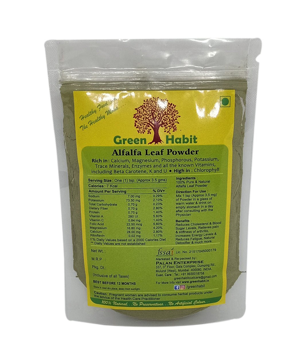 Green Habit Alfalfa Leaf Powder Organic Premium Quality, [Father of All Foods, High in Chlorophyll]