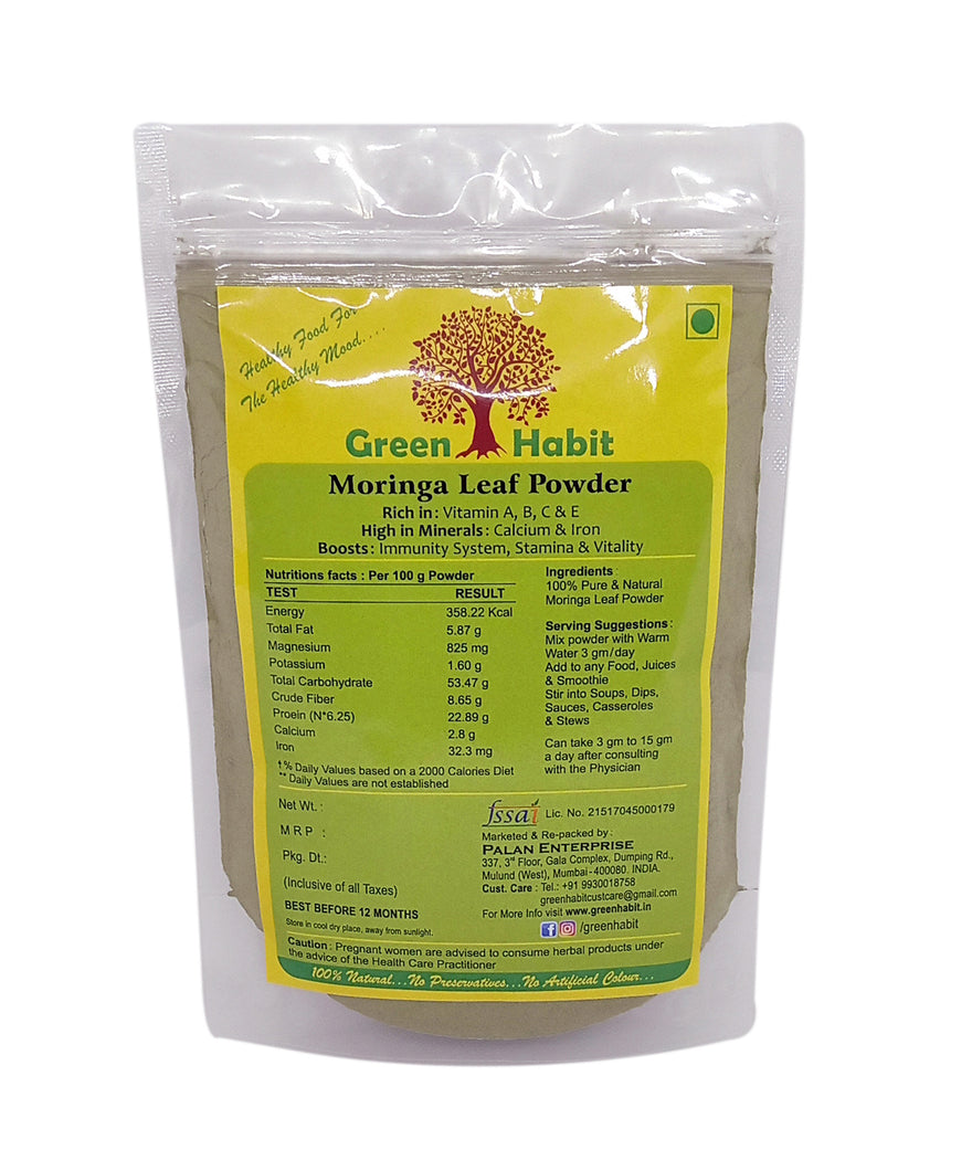 Green Habit Organic Moringa Leaf Powder  [All Natural, Nourishing and Detoxifying]