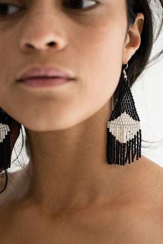 Contrast Beaded Fringe Earrings