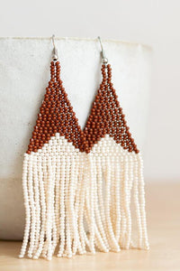 Cinnamon Beaded Fringe Earrings
