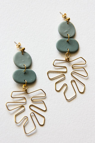 Monstera Leaf Clay Earrings