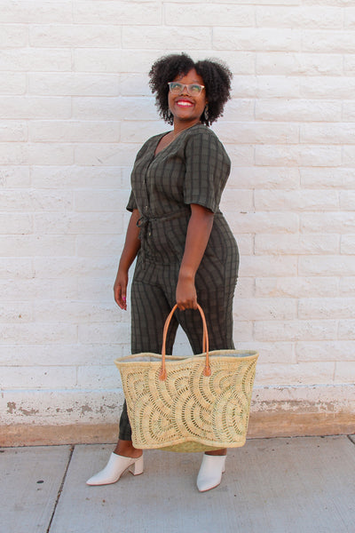 Raffia Crochet Fan Bag