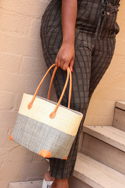 Raffia Grey Trinidad Bag - Medium