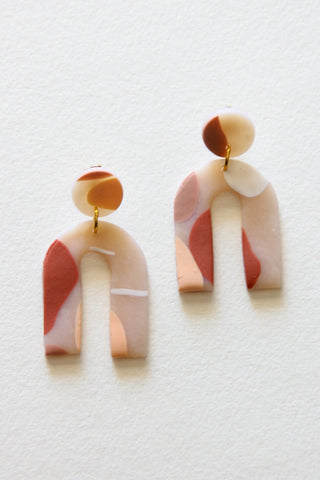 Sun Arc Clay Earrings