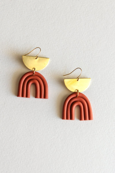 Rust Luna Clay Earrings