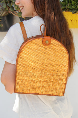 Natural Rattan Bali Backpack