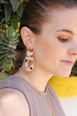 Mauve Terrazzo Clay Earrings