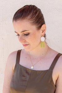Chartreuse + White Shell Clay Earrings