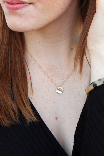 Gold Dainty Disk Necklace