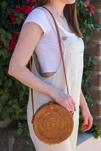 Round Natural Rattan Bali Bag