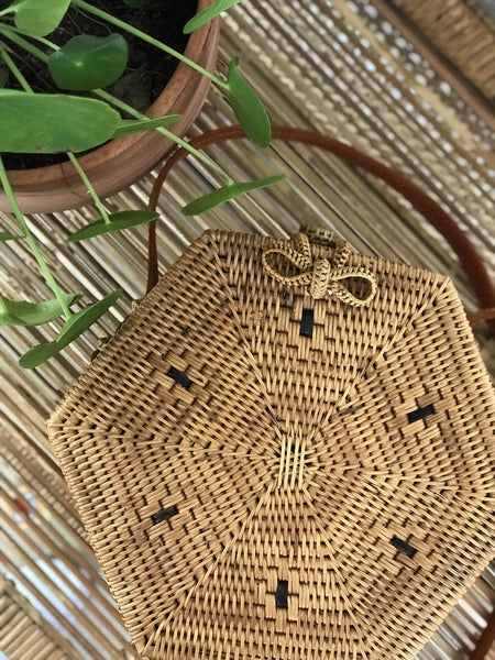 Hexagon Natural Rattan Bali Bag