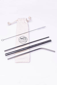 Silver Reusable Metal Straw Set