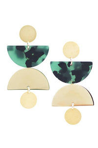 Green Tort Cargo Earrings