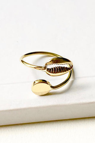 Cowrie Shell Adjustable Brass Ring
