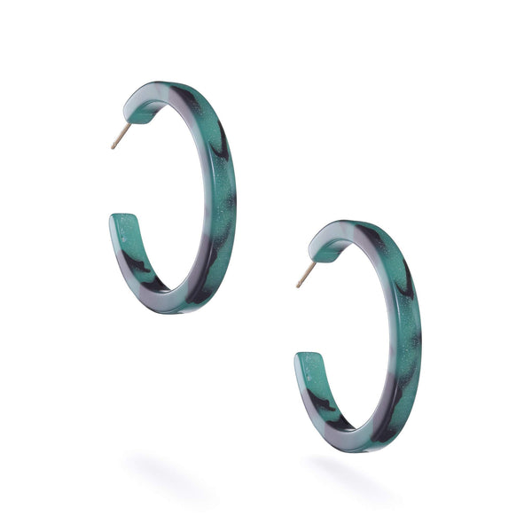 Green Tort Birdie Hoop Earrings