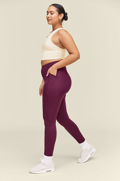 Plum High Rise Pocket Leggings - Cropped