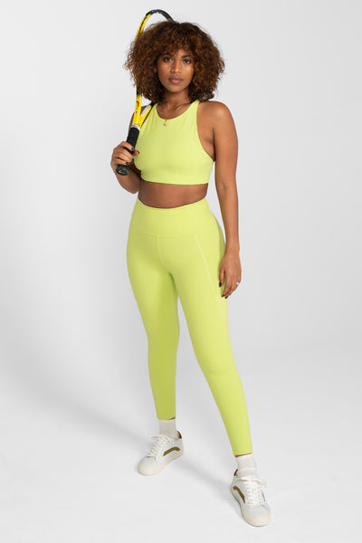 Lime High Rise Compressive Leggings - Cropped