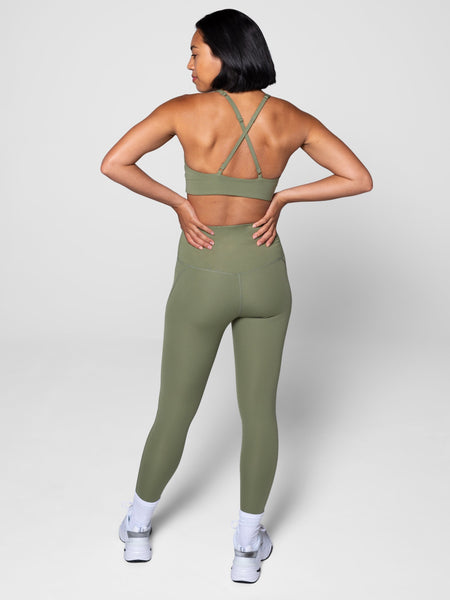 Olive High Rise Compressive Leggings - Cropped