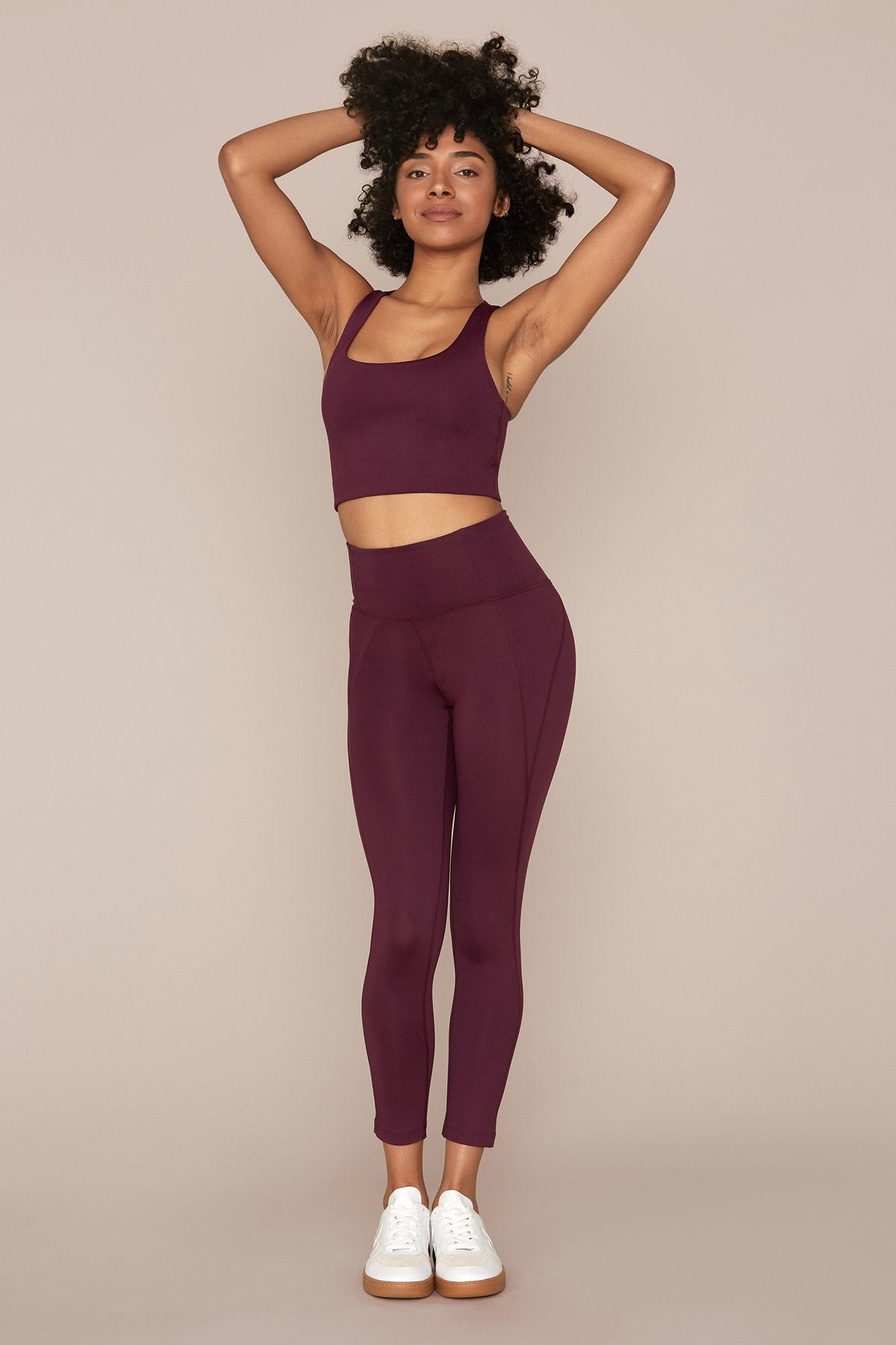 Plum High Rise Compressive Leggings - Cropped
