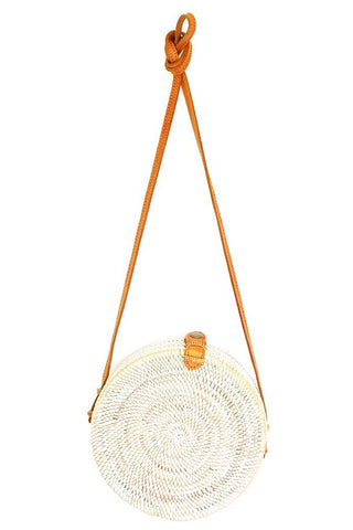 White Round Natural Rattan Bali Bag