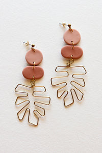 Pink Monstera Leaf Clay Earrings