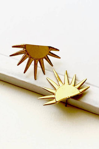 Brass Sun Ray Earrings