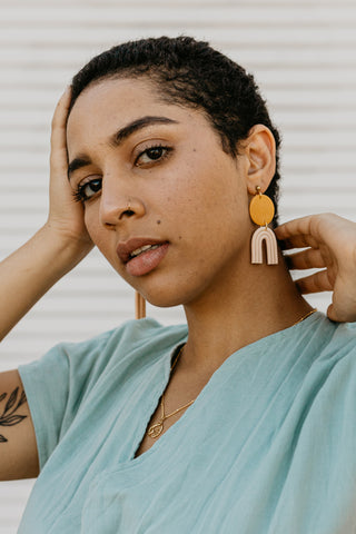 Ochre + Nude Shell Clay Earrings