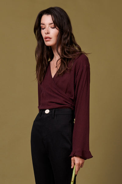 Burgundy Stripe Evelyn Wrap Top