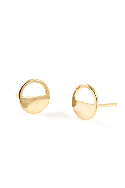Gold Half Circle Stud Earrings