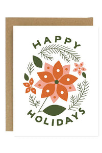Happy Holidays Poinsettia Greeting Card