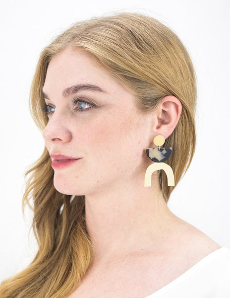 Beige Tort Arc Earrings