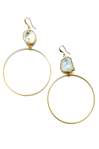Ola Druzy Hoop Earrings