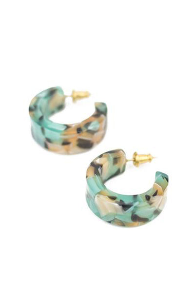 Teal Confetti Pome Mini Hoops