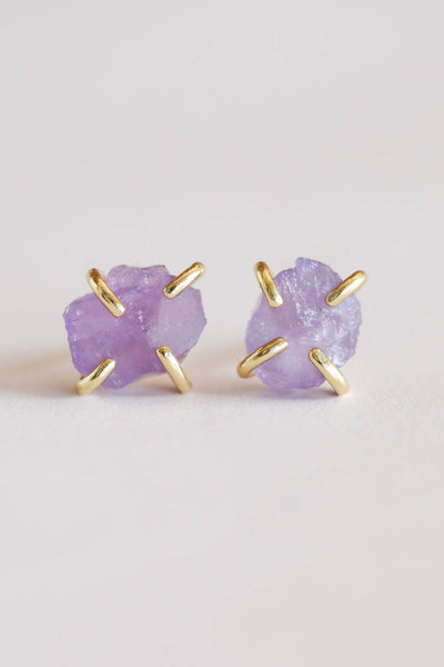 Amethyst Gemstone Crystal Earrings