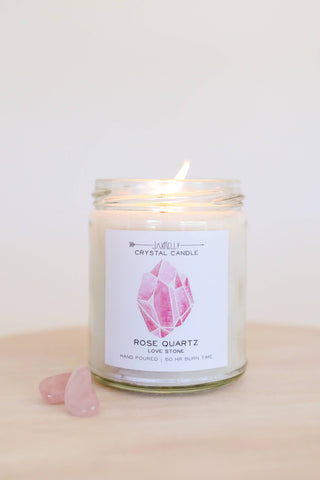 Rose Quartz Crystal Soy Candle