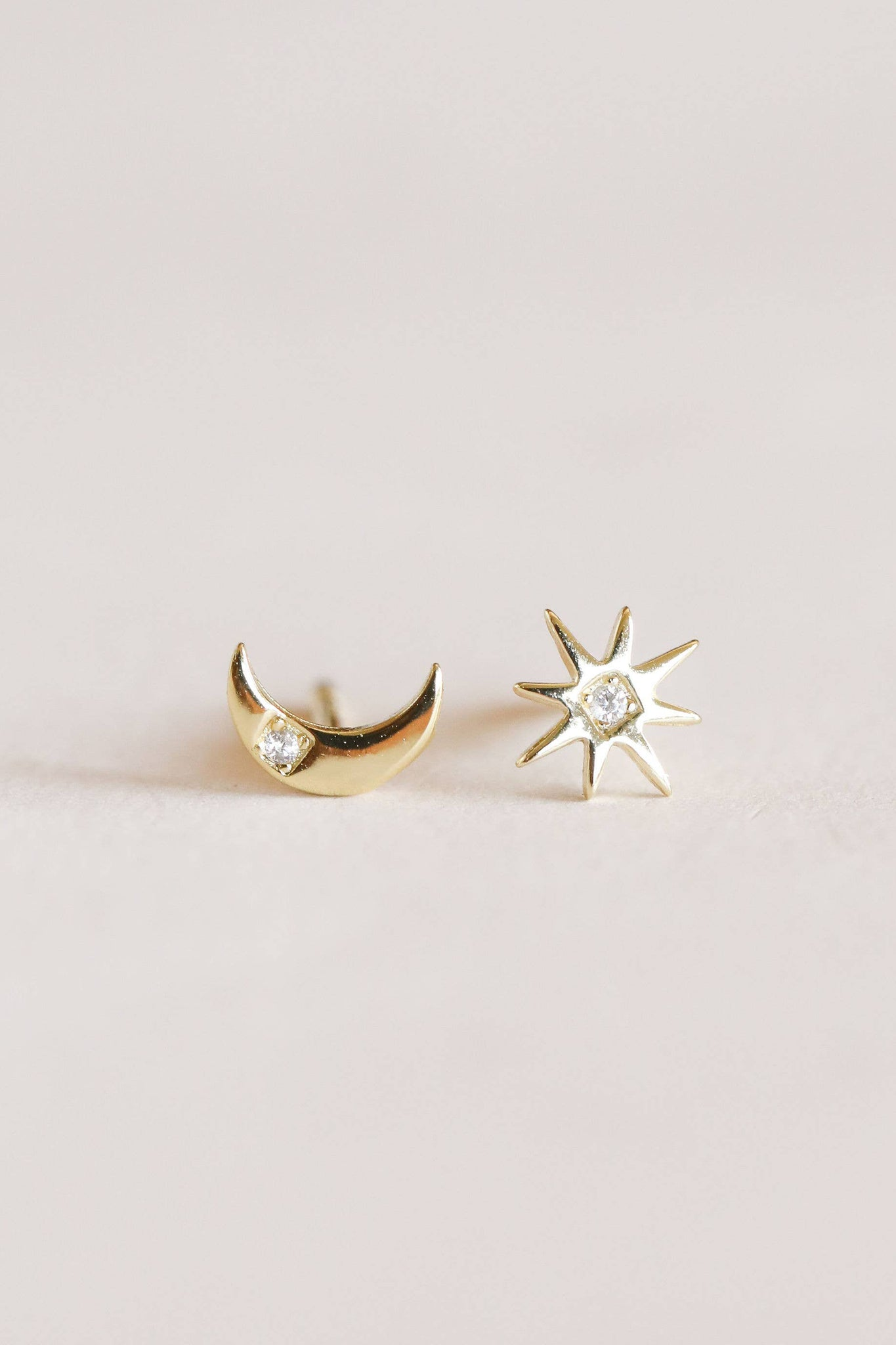 Dainty Gold Sun & Moon Earrings