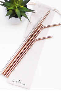 Rose Gold Zero Waste Metal Straw Set