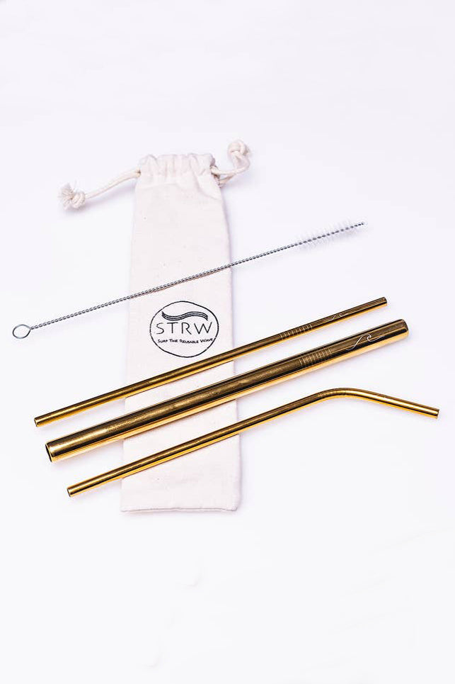 Gold Reusable Metal Straw Set